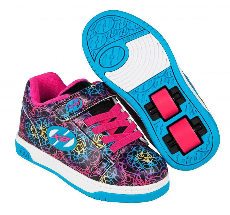 Heelys Dual Up Black/Cyan/Neon/Multi roller shoes with two wheels in each heel