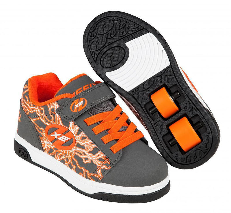 Heelys X2 Dual Up Charcoal/Orange roller shoes with two wheels in each heel