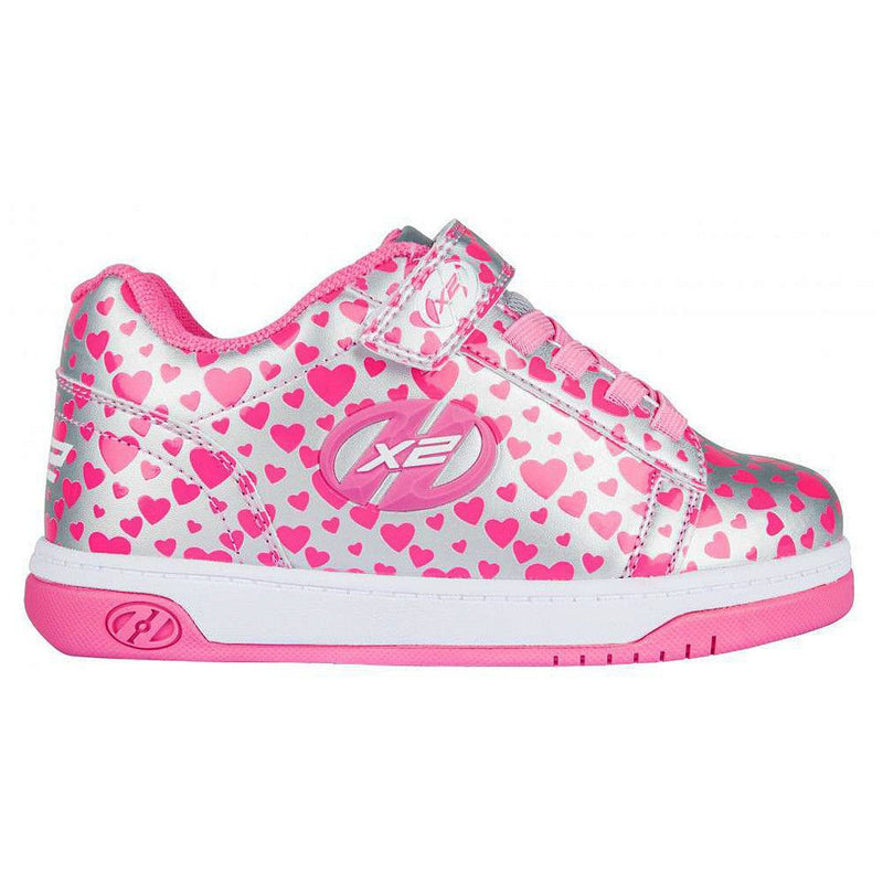 Heelys X2 Dual Up - Silver Hearts - Side View