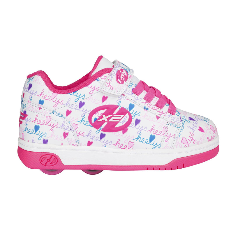 Heelys X2 Dual Up White/Pink/Multi Two Wheeled Heelys - Side View