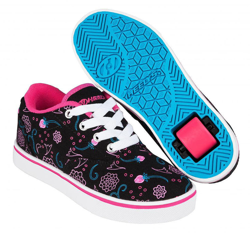 Heelys Launch Black/Hot Pink/Blue roller shoes with single wheel in each heel