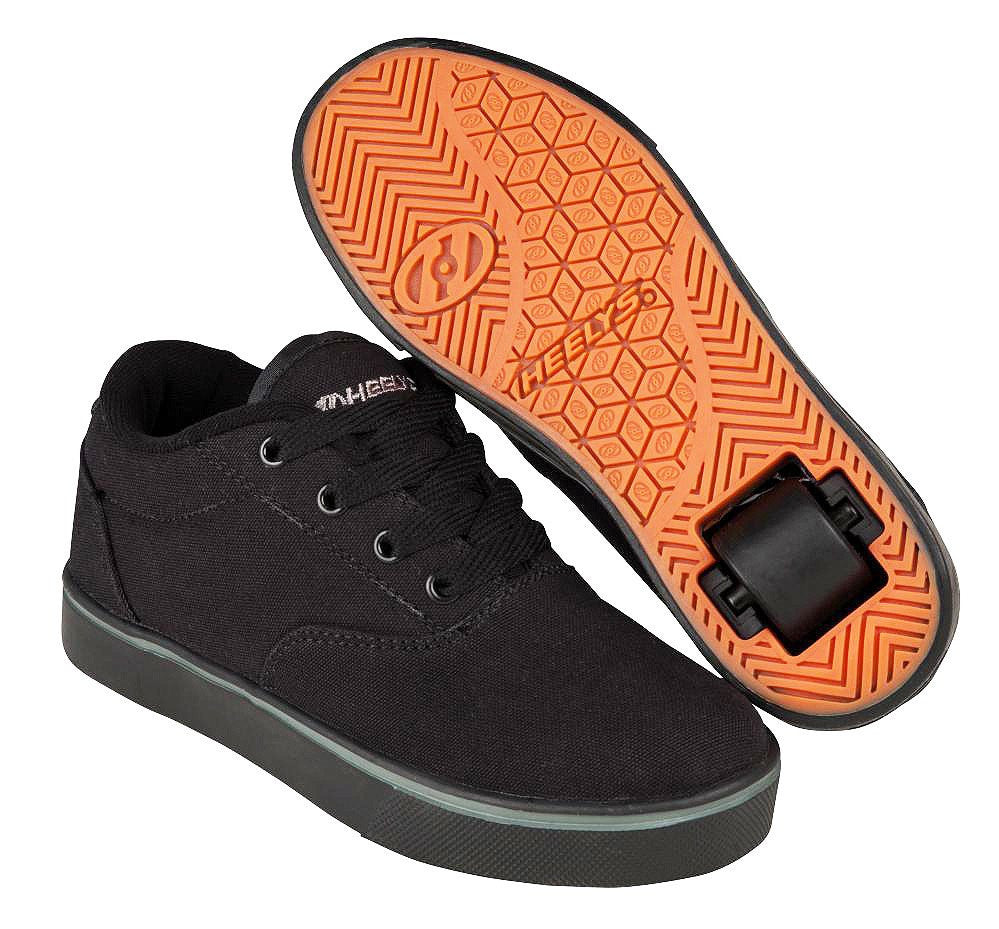 Heelys Launch black roller shoes with single wheel in each heel