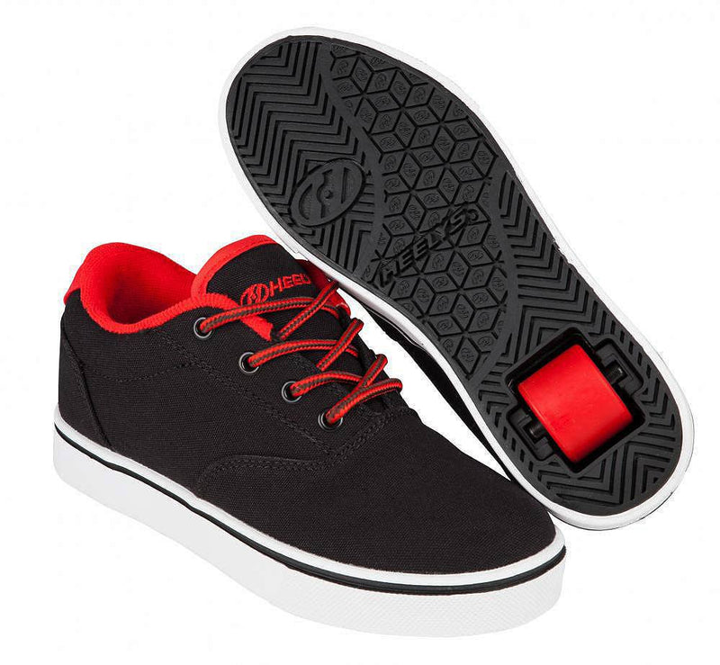 Heelys Launch black/red roller shoes with single wheel in each heel