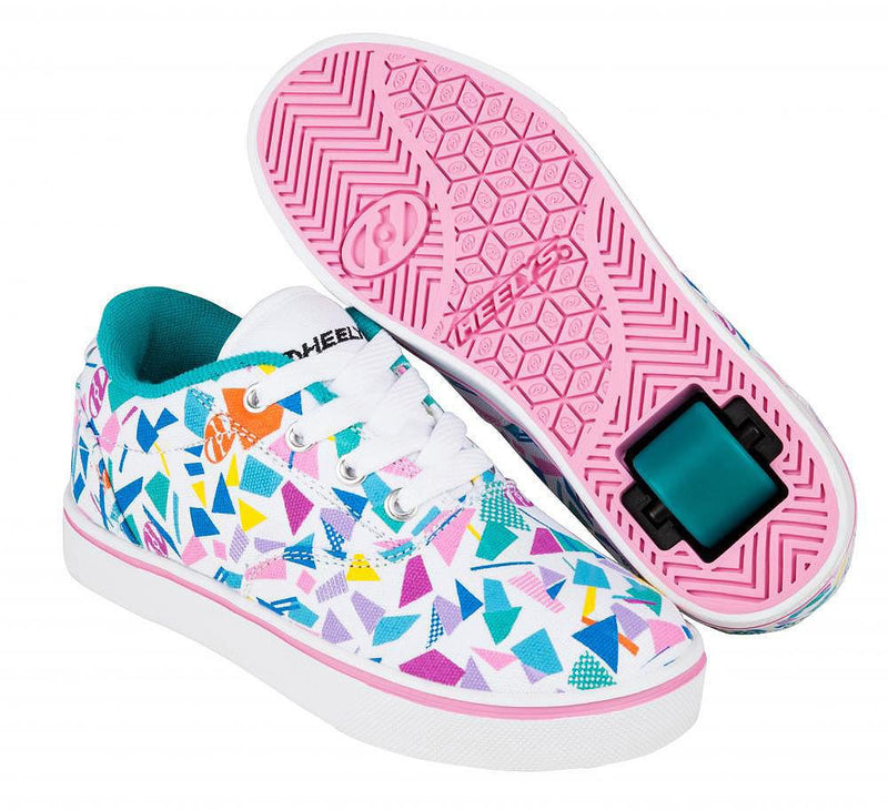 Heelys Launch White/Teal/Multi roller shoes with single wheel in each heel