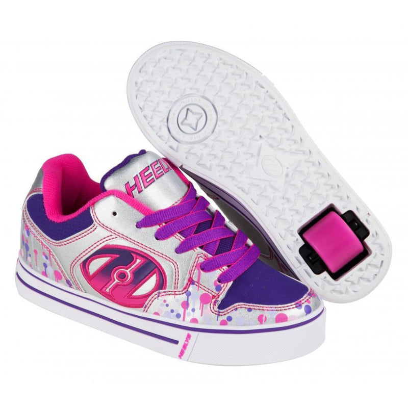 Purple Silver Girls One Wheel Heelys - Main View