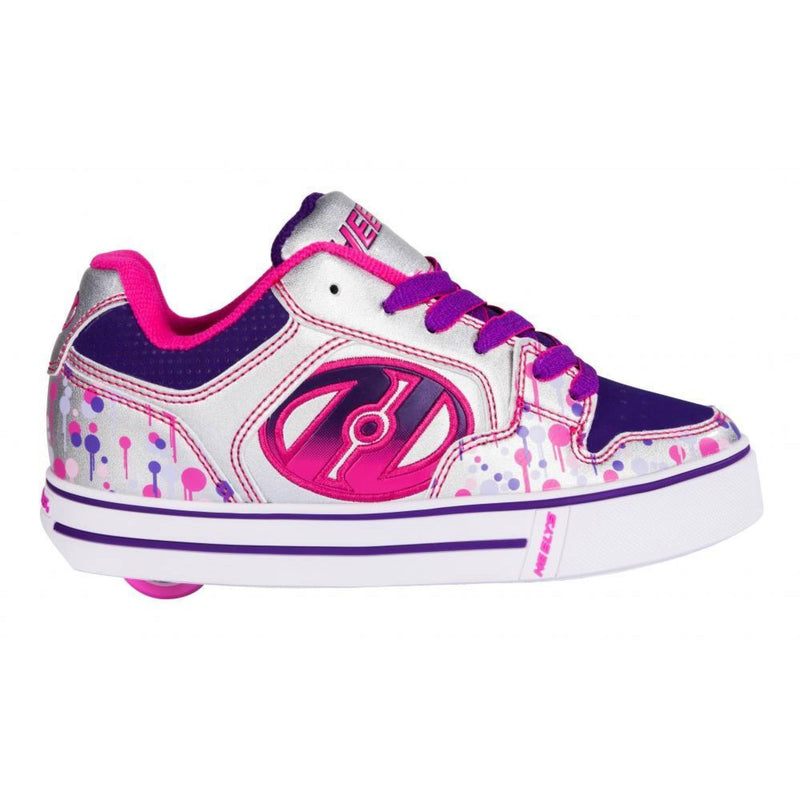 Purple Silver Girls One Wheel Heelys - Side View