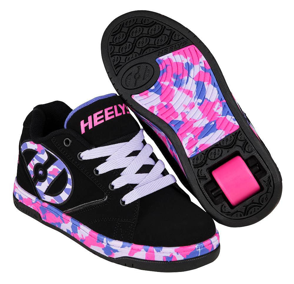 Heelys Propel black/lilac/pink/confetti roller shoes with single wheel in each heel