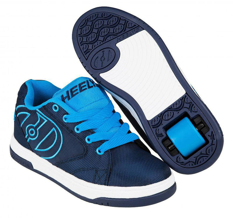 Heelys Propel 2.0 navy/blue/ballistic roller shoes with single wheel in each heel