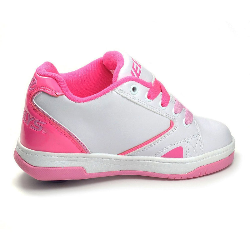 White Pink Girls One Wheel Heelys - Side View