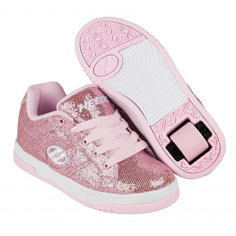 Heelys Split Light Pink Disco Glitter roller shoes with single wheel in each heel