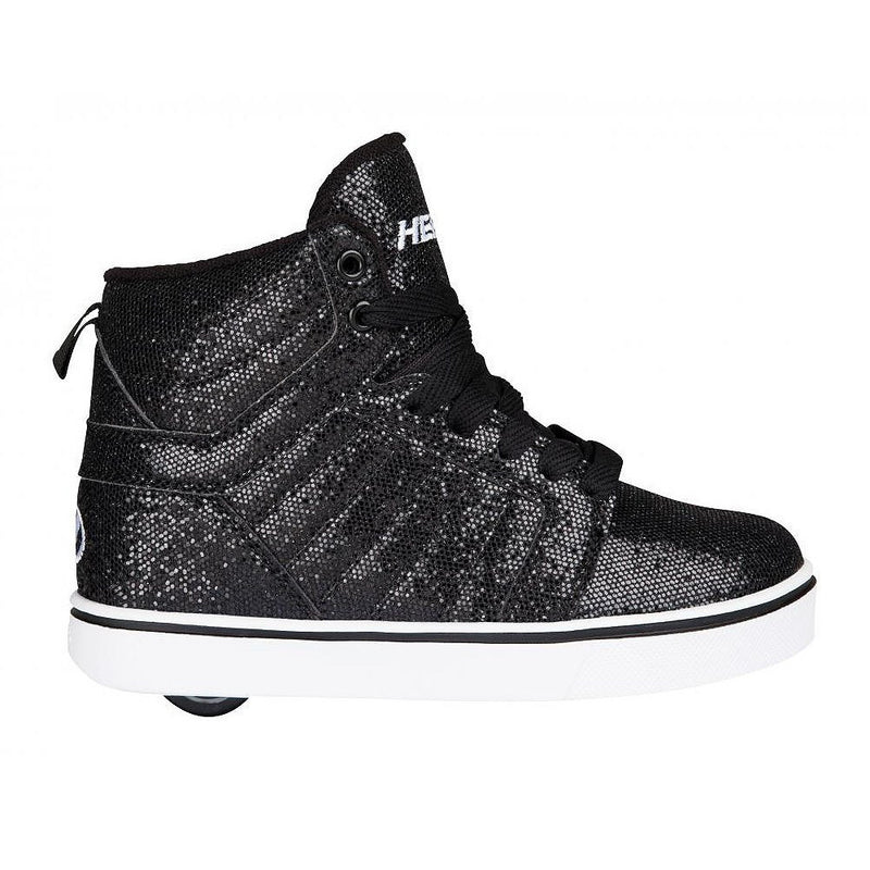 Heelys Uptown black disco glitter roller shoes - side view