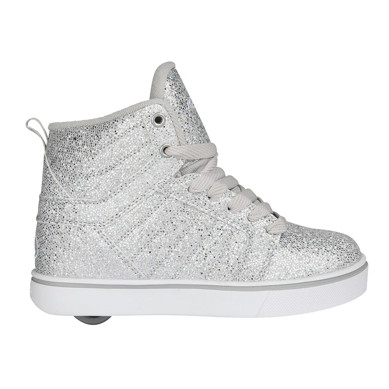 Heelys Uptown Silver Disco Glitter roller shoes - side view