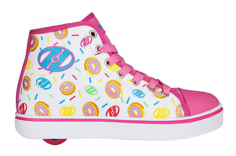 Heelys Veloz White/Pink/Donuts roller shoes - side view