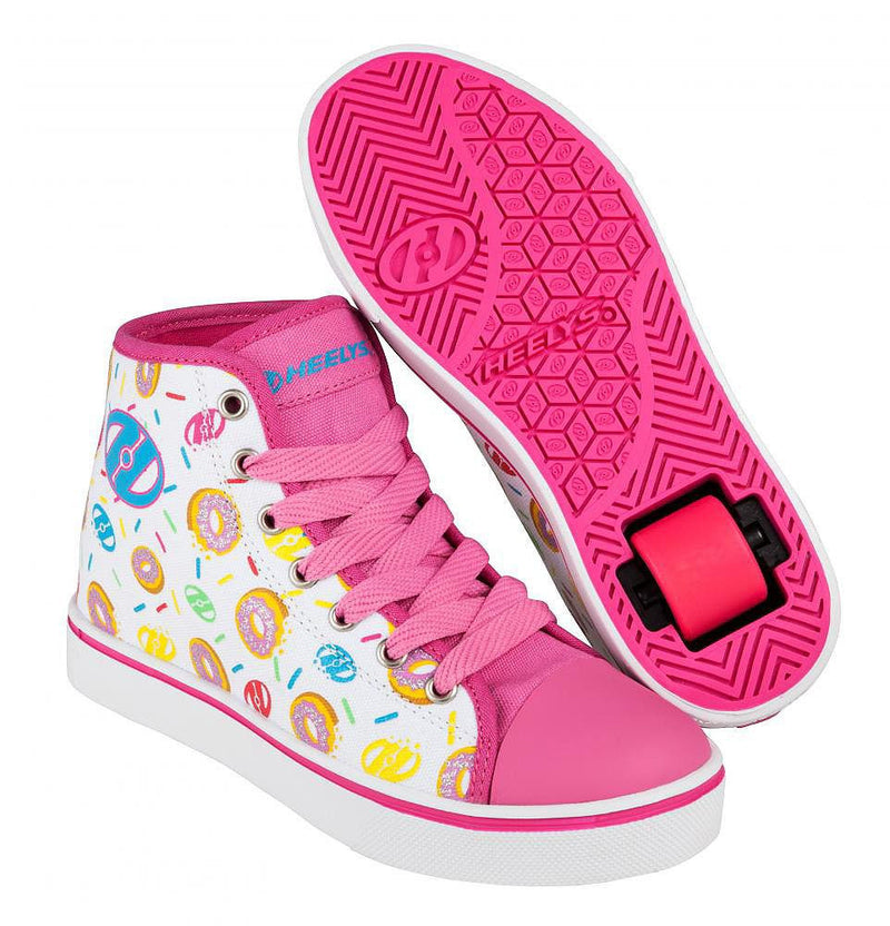 Heelys Veloz White/Pink/Donuts roller shoes with single wheel in each heel