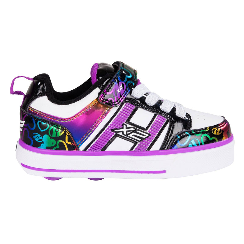 Purple Rainbow Flashing Girls Heelys - Side View