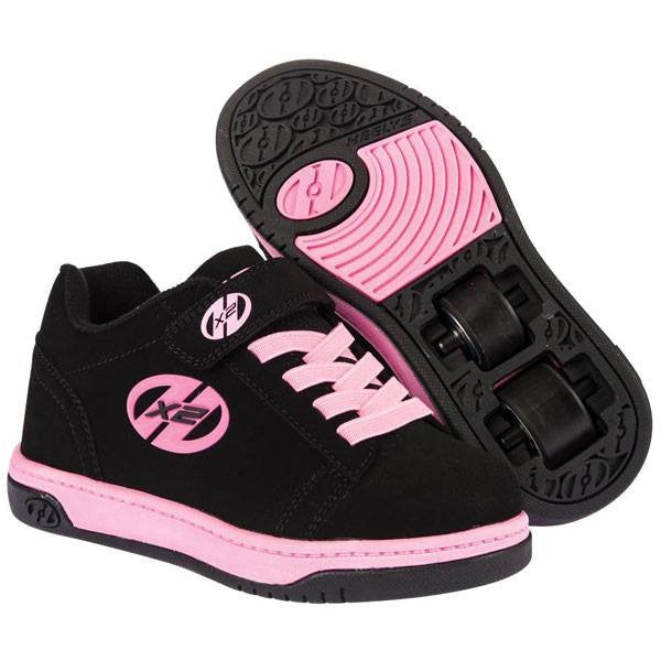 Heelys X2 Dual Up Black Pink Two Wheel Heelys - Main View