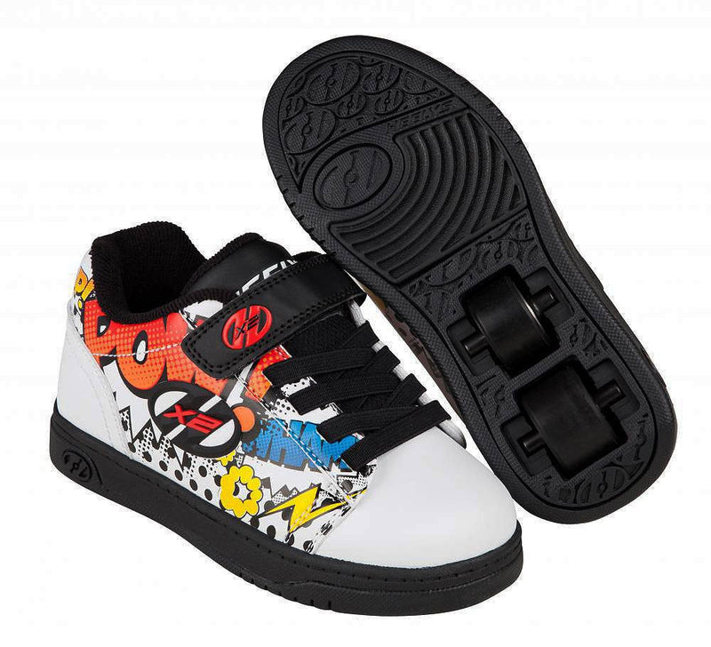 Heelys X2 Dual Up Two Wheels in each heel White/Black/Multi Comic - main view