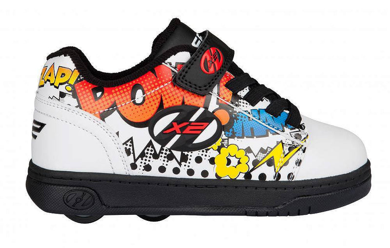 Heelys X2 Dual Up White/Black/Multi Comic - side view
