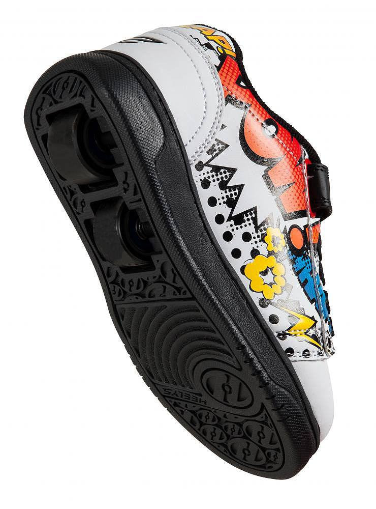 Heelys X2 Dual Up White/Black/Multi Comic - underside view