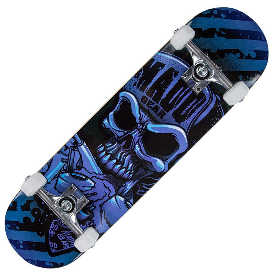 MGP Pro Hatter Strip Blue Skateboard - Main View