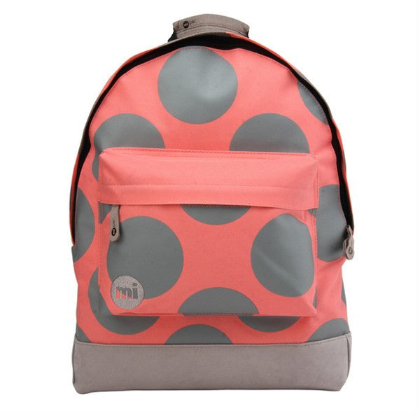 Coral Grey Polka Dot Backpack - Main View