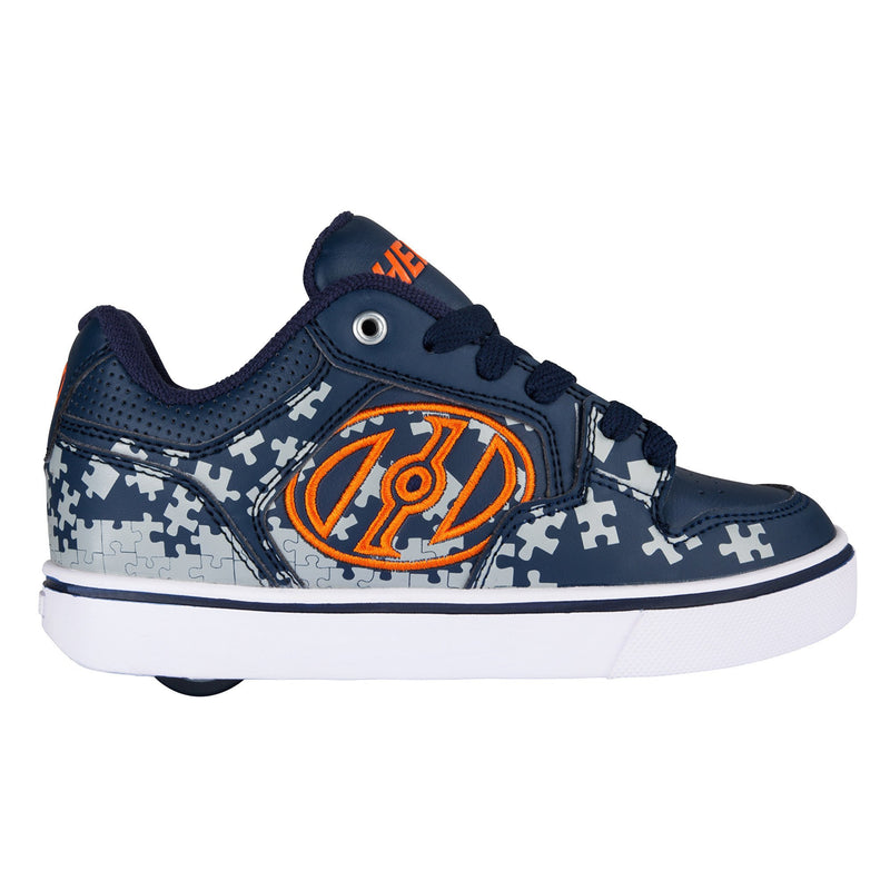 Blue Orange One Wheel Heelys - Side View