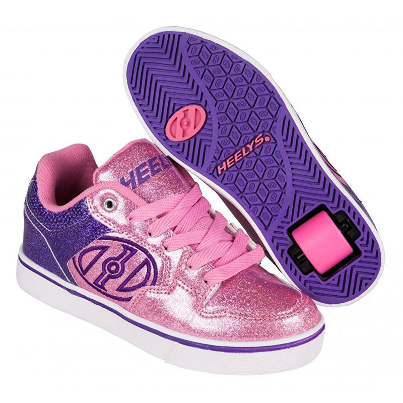 Pink Purple Glitter One Wheel Heelys - Main View