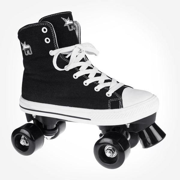 Rookie Canvas Black Kids Adult Quad Roller Skates