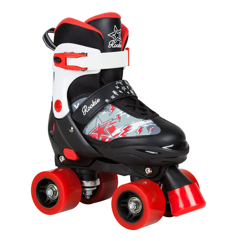 ROOKIE ACE ADJUSTABLE QUAD ROLLER SKATES - BLACK/RED