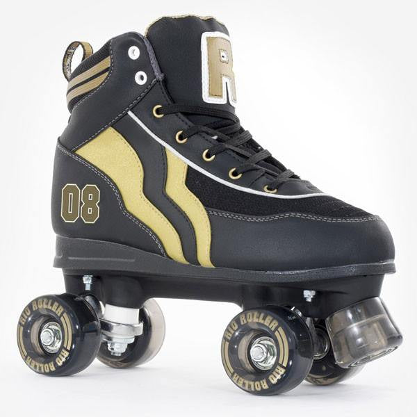 Rio Roller Varsity Black Gold Kids Adult Quad Roller Skates - Main View