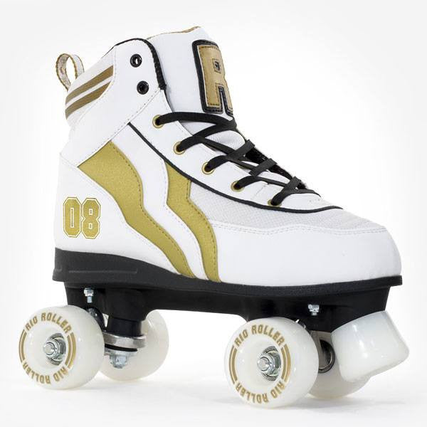 Rio Roller Varsity White Gold Kids Adult Quad Roller Skates - Main View