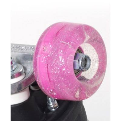 Rio Roller Light Up Pink Glitter 54mm 82A Flashing Quad Roller Skate Wheels [Set of 4] - Main View