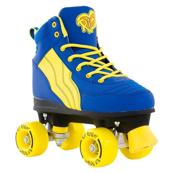 Rio Roller Pure Blue/Yellow Quad Roller Skates - Front View