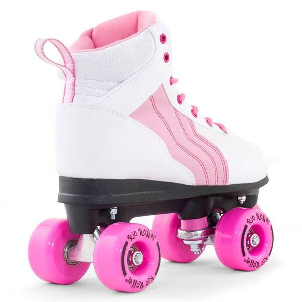 Rio Roller Pure White/Pink Quad Roller Skates - Rear View