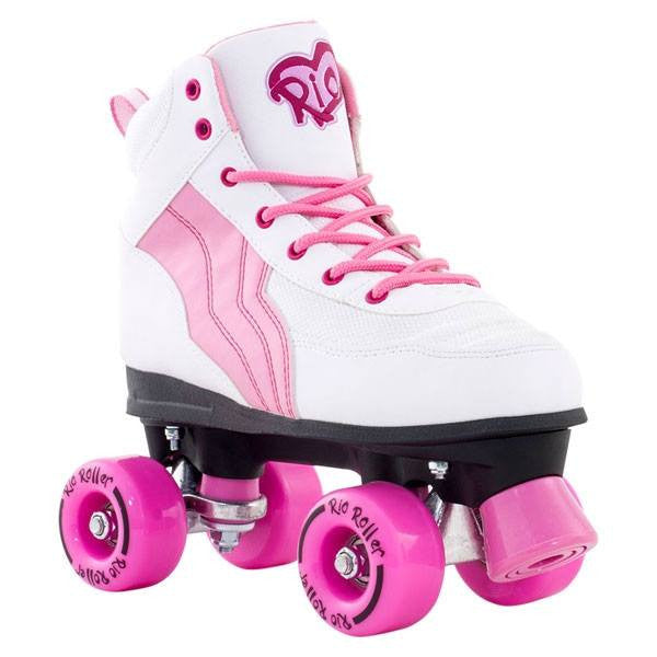 Rio Roller Pure White/Pink Quad Roller Skates - Front View