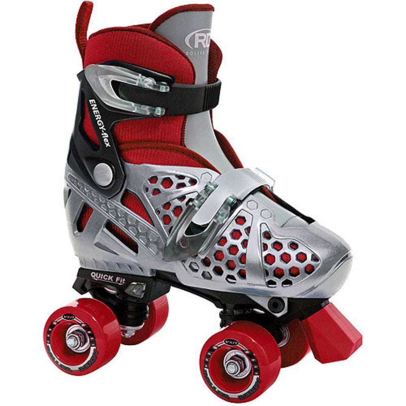 Grey Red Adjustable Roller Skates - Main View