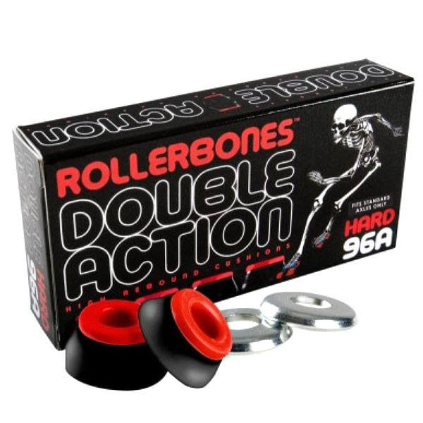 Rollerbones Double Action Black/Red 96A Hard Skate Cushions [Set of 8] - Main View
