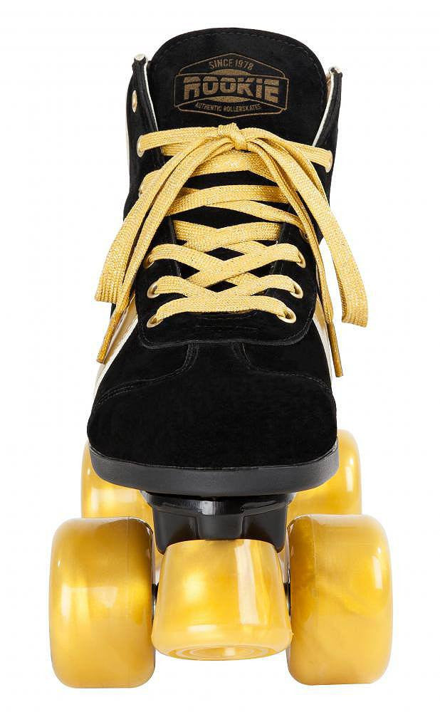Rookie Authentic V2 Black/Gold Roller Skates - front view