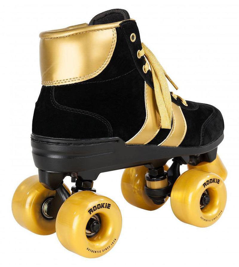 Rookie Authentic V2 Black/Gold Roller Skates - rear view