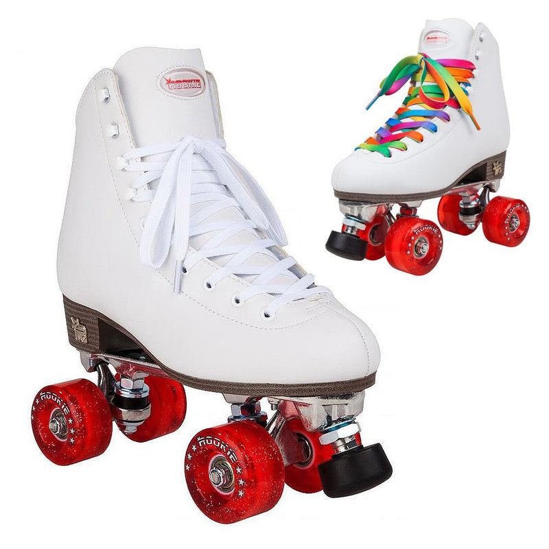 Rookie Classic II White Roller Skates - image showing different laces included