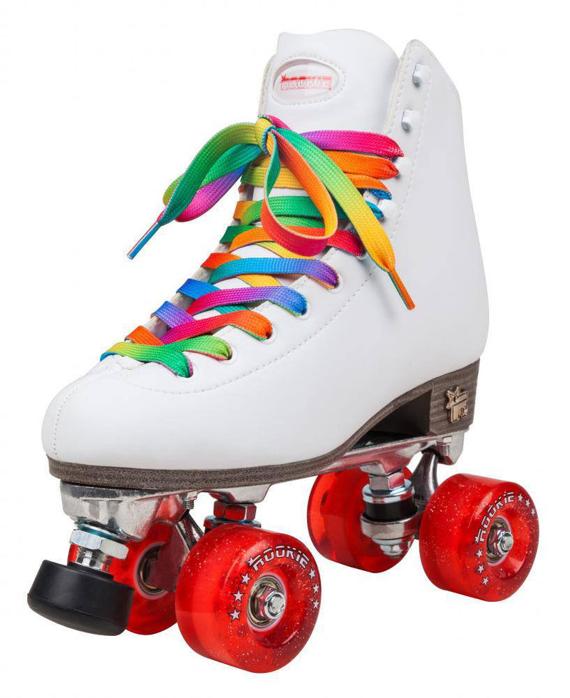 Rookie Classic II White Roller Skates with multi coloured laces