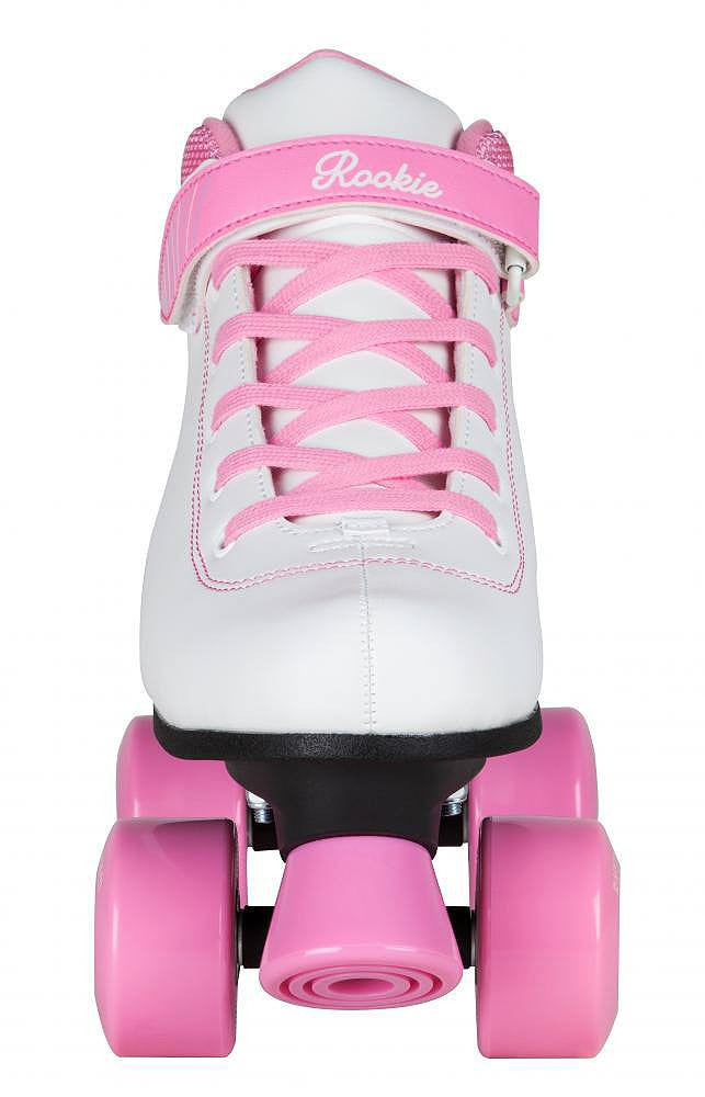 Rooke Rhythm White & Pink Kids Roller Skates - Front View