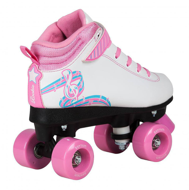 Rooke Rhythm White & Pink Kids Roller Skates - Side View