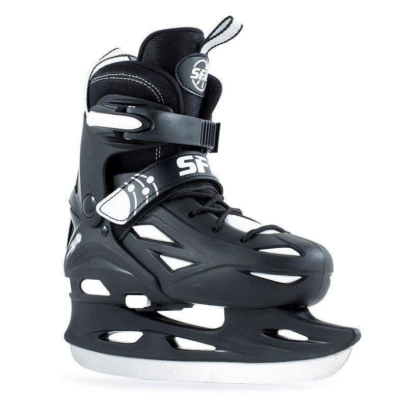 SFR Eclipse Black White Kids Adjustable Ice Skates - Main View