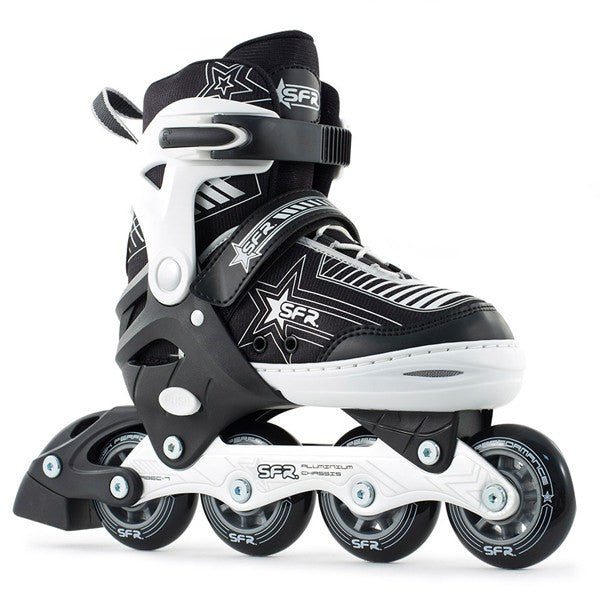 SFR Pulsar Black White Kids Adjustable Inline Skates - Main View