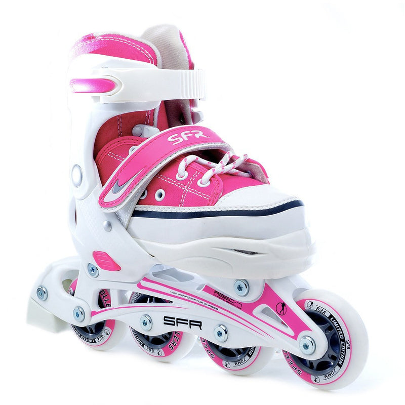 SFR Camden Kids Inline Adjustable Skates in Pink & White