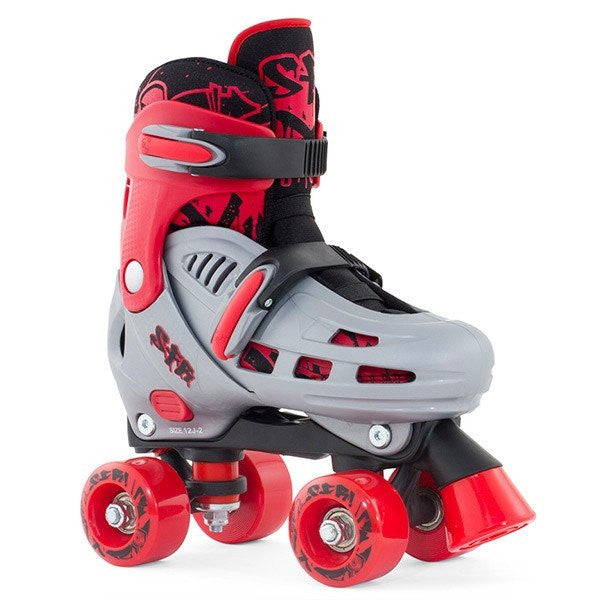 SFR Hurricane Grey/Red Boys Adjustable Quad Roller Skates - Front View