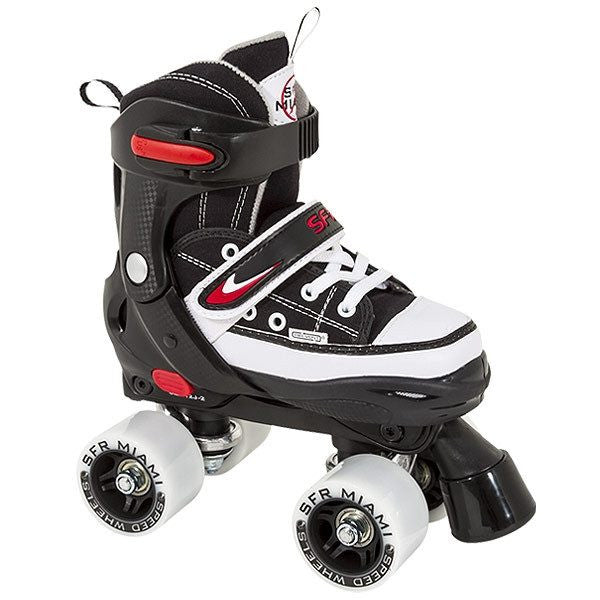 SFR Miami Black/White Boys Adjustable Kids Quad Roller Skates