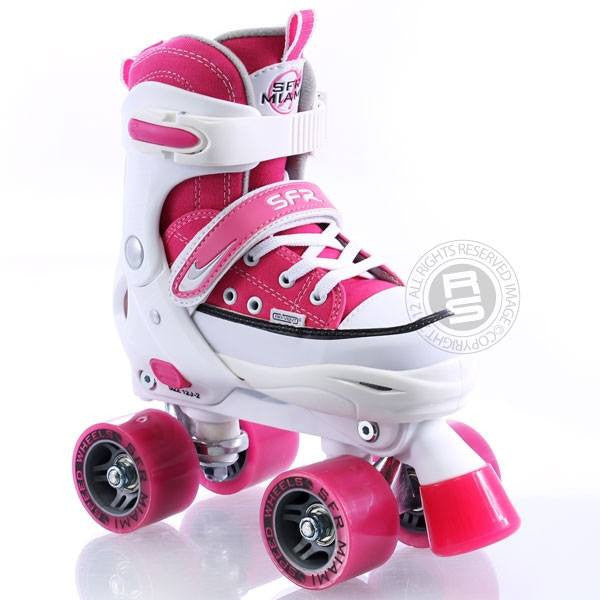 SFR Miami Pink/White Girls Adjustable Quad Roller Skates - Front View