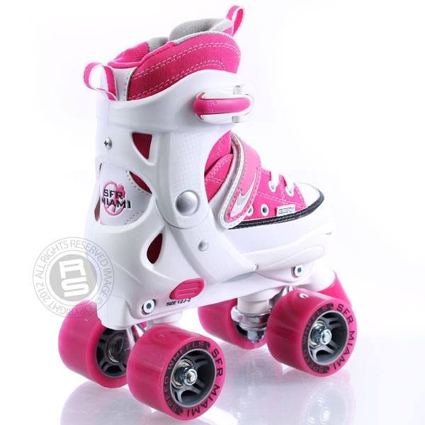 SFR Miami Pink/White Girls Adjustable Quad Roller Skates - Rear View
